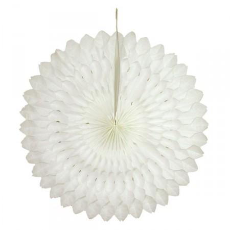 Eventail Blanc - papier - Diam. 50 cm