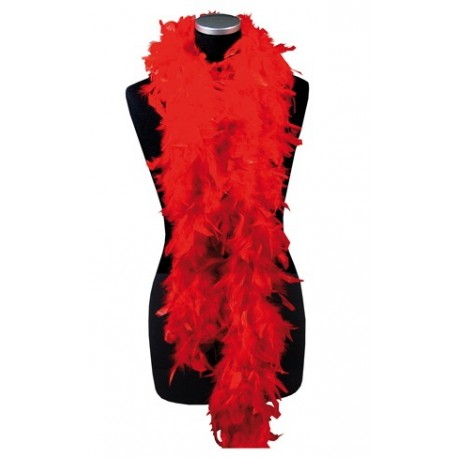 Boa rouge -  plumes - Long. 180cm