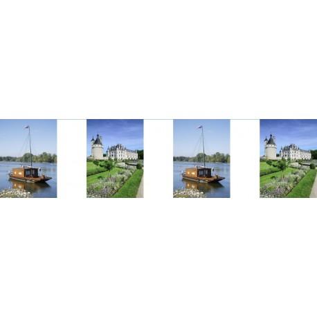 Guirlande Châteaux de la Loire - 10 fanions 21 x 30 cm - papier - Long.420cm