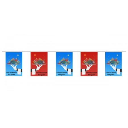 Guirlande Tour du monde des gouts - 10 fanions 21 x 30 cm - papier - Long.420cm