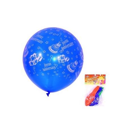 Ballons Joyeux Anniversaire x 3 - couleurs assorties - Diam. 40 cm