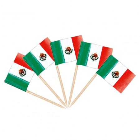 Drapeaux mini Mexique x 50 - papier - 3.5 x 2.5 cm (pic en bois de 6.5 cm)