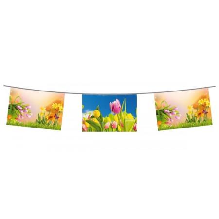 Guirlande Printemps - 10 fanions 21 x 30 cm - papier - Long.500cm
