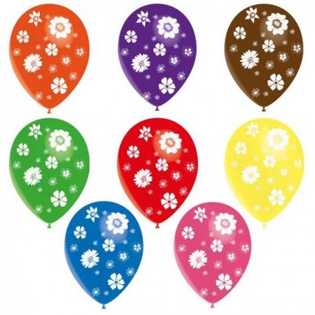 """Pochette de 8 ballons multicolores motifs """"Fleurs"""" - Diam. 29 cm"""