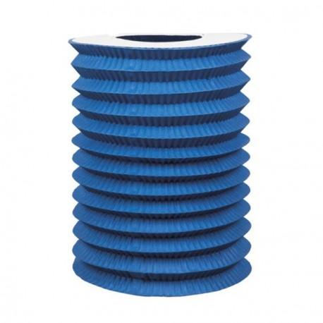 Lampion cylindrique bleu - papier - diam 16 cm