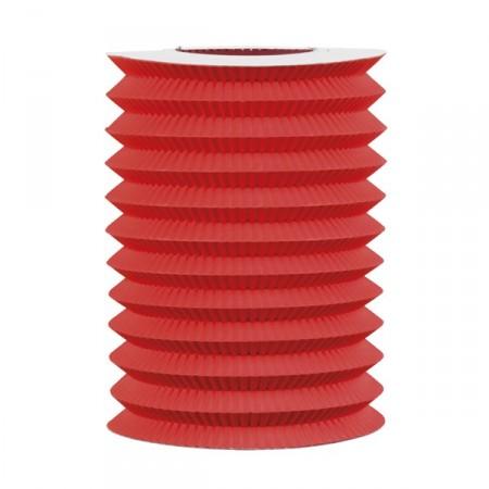 Lampion cylindrique rouge - papier - diam 15 cm
