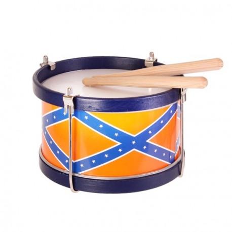 Tambour de fanfare avec baguette bois - Diam 21cm