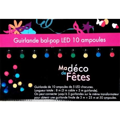 Guirlande bal pop de 10 ampoules a  led sur 5 m -  longueur totale 8m