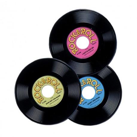 3 disques en plastique imprimees sur les 2 faces - diam 23 cm