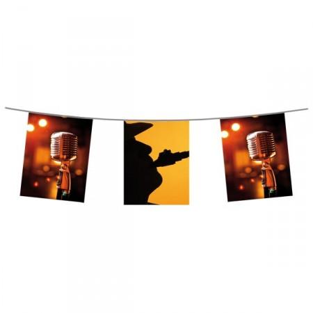 Guirlande Musique Jazz  - 10 fanions 21 x 30 cm - papier - Long.420cm