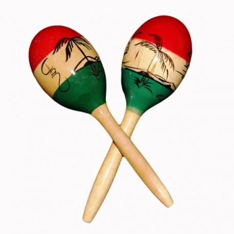 Maracas traditionnelle - bois - H. 27cm (différents coloris)