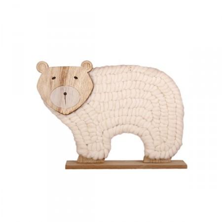 Ours en bois et laine - 25 x 6 x 19 cm