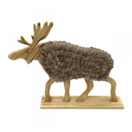 Renne en bois et laine grise - 34 x 6 x 27 cm
