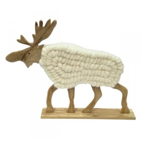 Renne en bois et laine blanche - 26 x 5 x 20 cm