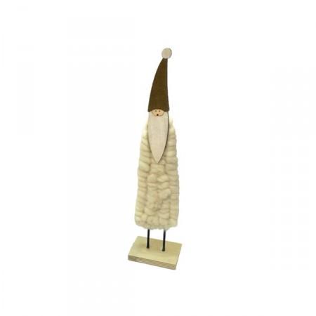 Pere Noel en bois et laine - 26 x 6 x 5 cm
