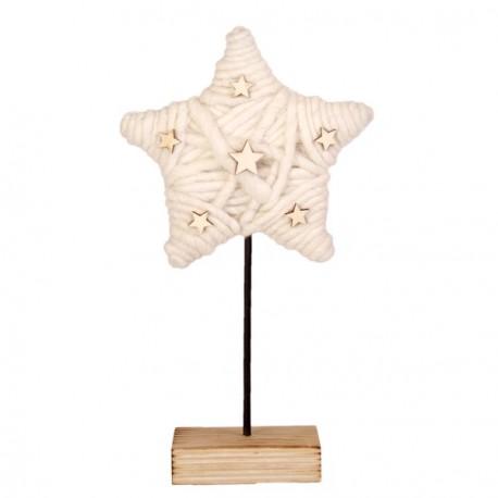Etoile en bois et laine blanche - 25 x 14 x 8 cm