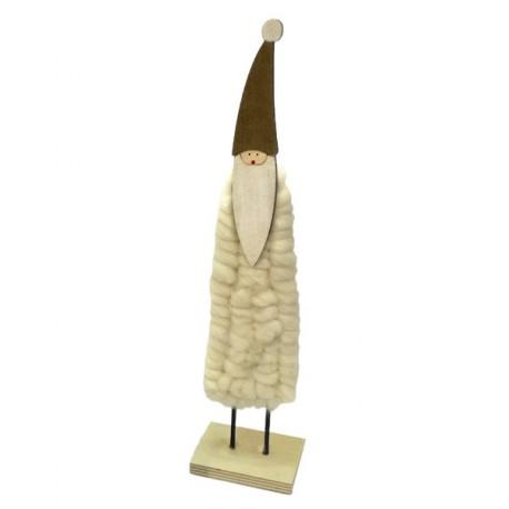 Pere Noel en bois et laine - 35 x 9 x 6 cm