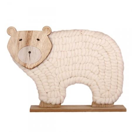 Ours en bois et laine - 35 x 6 x 25 cm