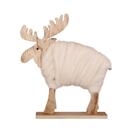 Elan en bois et laine - 22 x 6 x 26 cm