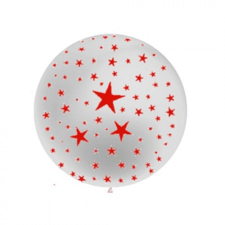 Ballon rond Argent métal motif ''Etoiles'' - Diam. 60 cm