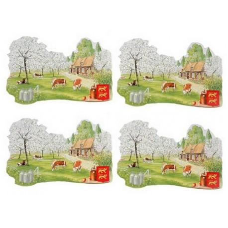 Set de 4 décors Normandie  - carton