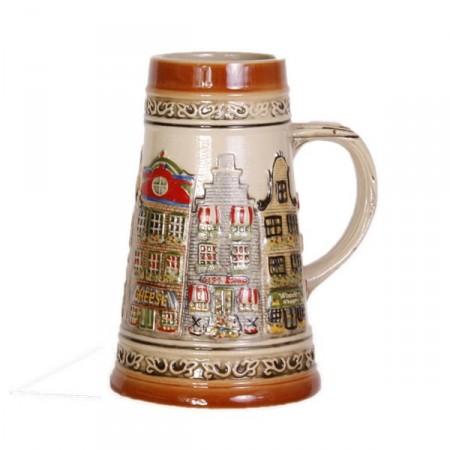 Choppe de bière décorative - terre cuite - differents coloris  H. 17 cm