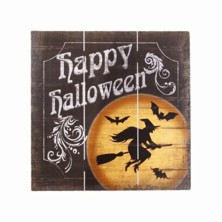 Plaque en bois Happy Halloween - 40 x 40 cm