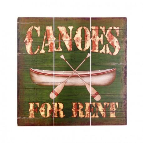 Plaque en bois Canoes For Rent 40 x 40 cm