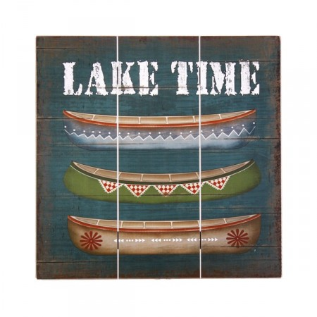 Plaque en bois Canoe Lake Time 40 x 40 cm