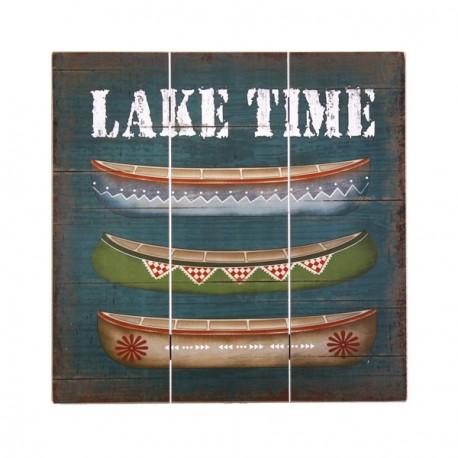 Plaque en bois Canoe Lake Time 40 x 40 cm
