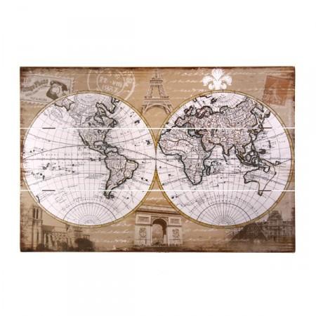 Plaque en bois Carte du Monde 40 x 60 cm