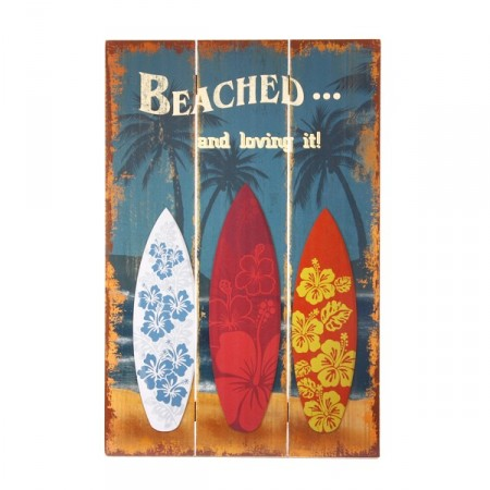 Plaque en bois Surf Beached 40 x 60 cm