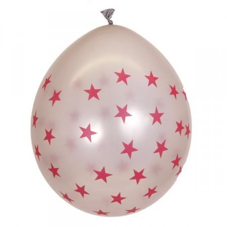 Pochette de 8 ballons Argent métal - motif ''Etoiles'' - Diam. 30 cm