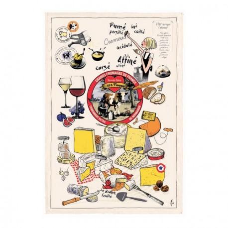 """Tissu Imprimé """" Les Fromages de France """" - Coton - 48 x 72 cm"""