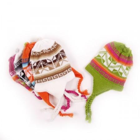 Bonnet Peruvien - Artisanat d'Amerique du Sud - taille enfant - laine