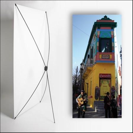 Kakemono AMS Maison Jaune - 180 x 80 cm - Toile M1 avec structure  X- Banner