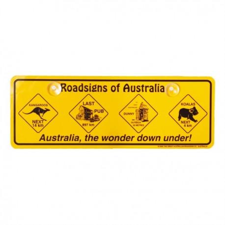 Plaque Roadsigns of Australia avec ventouses 34 x 12 cm
