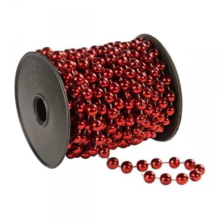 Collier de perles rouge - PVC brillant - Longueur 270cm