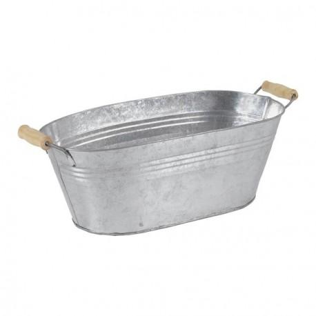 Corbeille en zinc et bois 43 x 18 x 17 cm