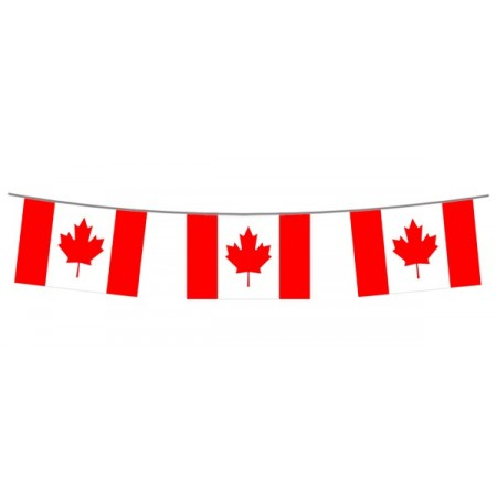 Guirlande Canada  - 10 fanions 21 x 30 cm - plastique - Long.520cm