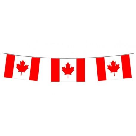 Guirlande Canada  - 10 fanions 21 x 30 cm - plastique - Long.400cm