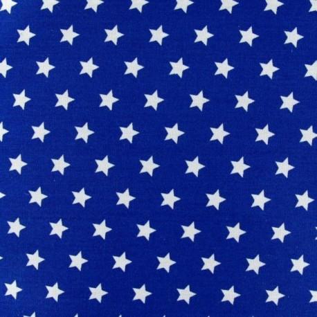 Tissu satin bleu etoiles blanches  larg 150 cm le ml