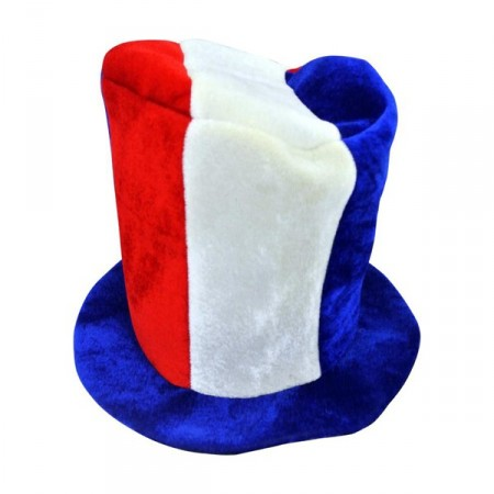Chapeau haut de forme tricolore en mousse