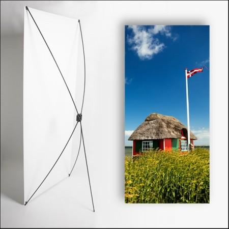 Kakemono scandinavie Cabane - 180 x 80 cm - Toile M1 avec structure  X- Banner