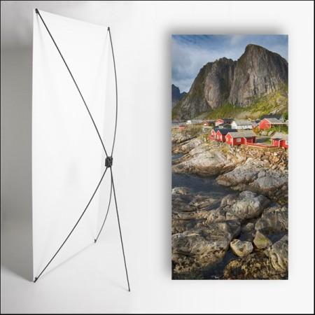 Kakemono scandinavie Village  - 180 x 80 cm - Toile M1 avec structure  X- Banner