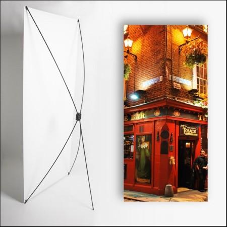 Kakemono Irlande Pub de nuit  - 180 x 80 cm - Toile M1 avec structure  X- Banner