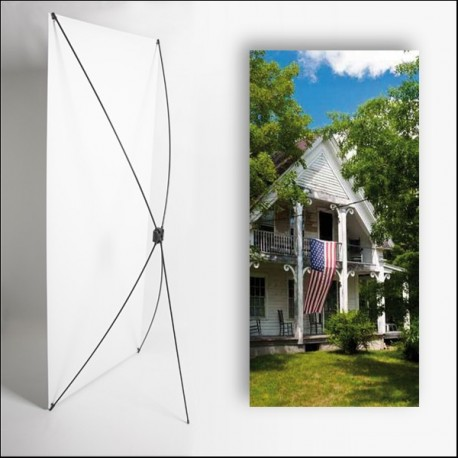 Kakemono Louisisane Maison - 180 x 80 cm - Toile M1 avec structure  X- Banner