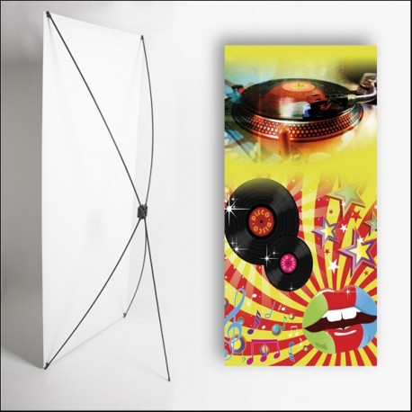 Kakémono Musique Disco 80 x 180 - Toile M1 / X Banner
