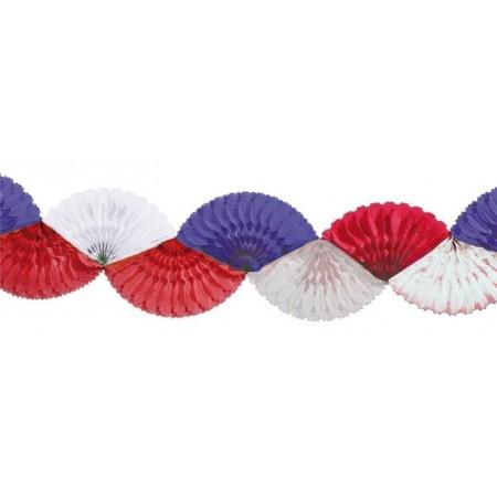 Guirlande éventail bleu blanc rouge en papier - long 3 m