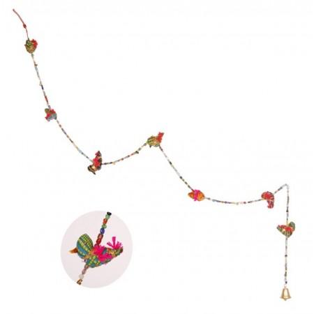 Suspension d'elephants - perle et tissus - haut: 50 cm